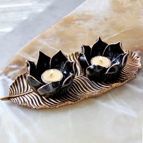Picture of Lotus Candle Holder - Black