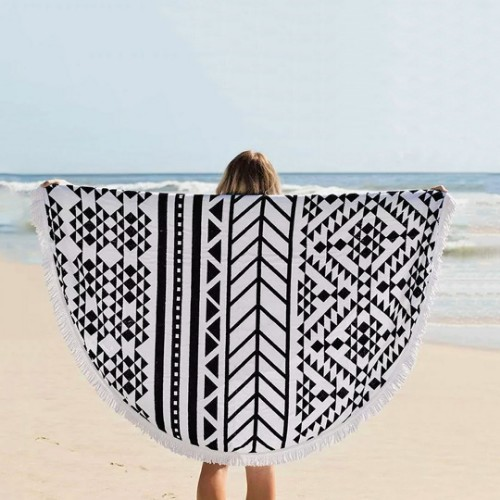 Picture of Mandala Round Beach Towel Round Black&White