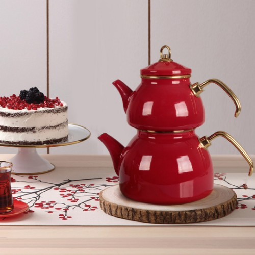 Picture of Qedi Enamel Teapot Set - Red