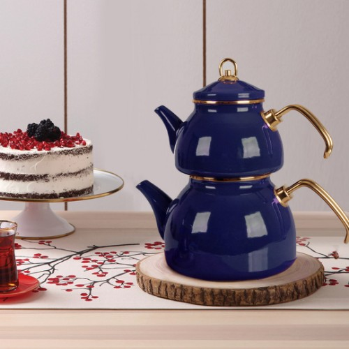 Picture of Qedi Enamel Teapot Set - Dark Blue
