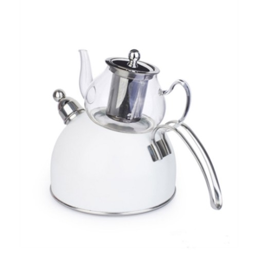 Picture of Wistle With Pressure Teapot Set -  White