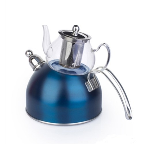 Picture of Wistle With Pressure Teapot Set -  Dark Blue