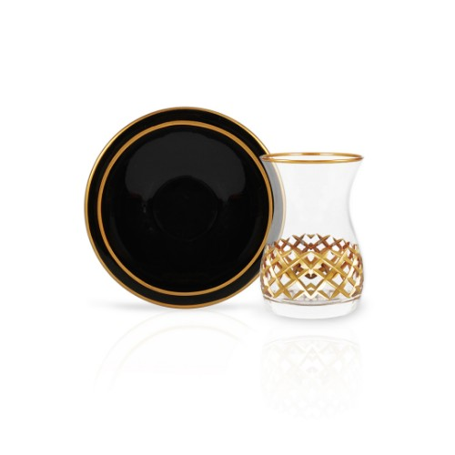 Picture of Anastas Gilded Tea Glasses Set of 12 - Black