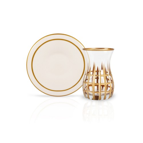 Picture of Pera Gilded Tea Glasses Set of 12 - Cream