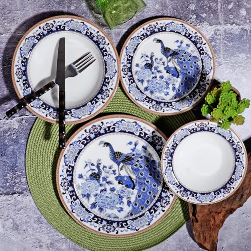 Picture of Peacock 24 Pieces  Porcelain Dinnerware Set