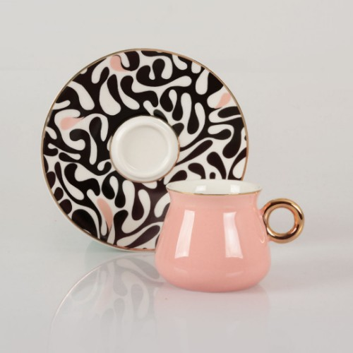 Picture of Victoria Leopard Porcelain Turkish Coffee Set - Pink