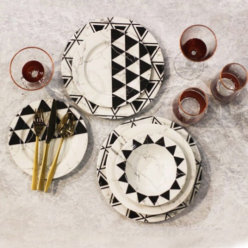 Picture of Valery Pyramid 24 Pieces  Porcelain Dinnerware Set - Balck White
