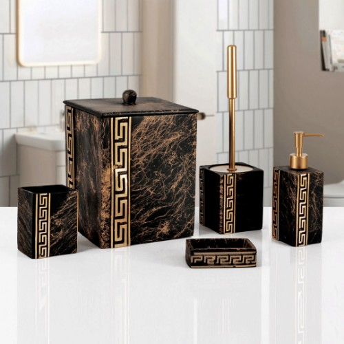 Picture of Marble Bathroom Accessories Set of 5 -Black