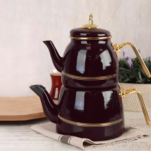 Picture of Oualita Enamel Teapot Set - Damson