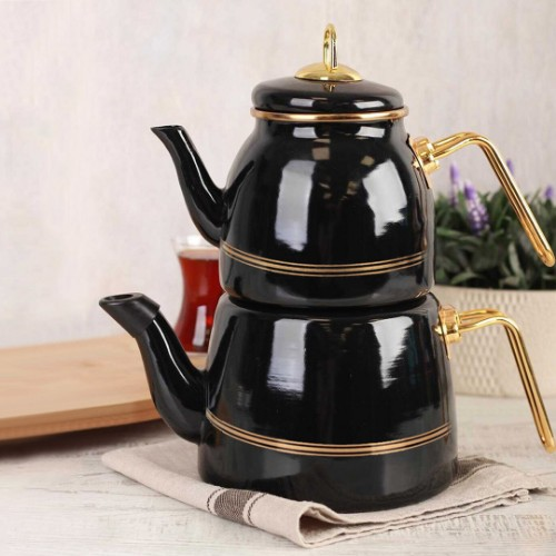 Picture of Oualita Enamel Teapot Set - Black