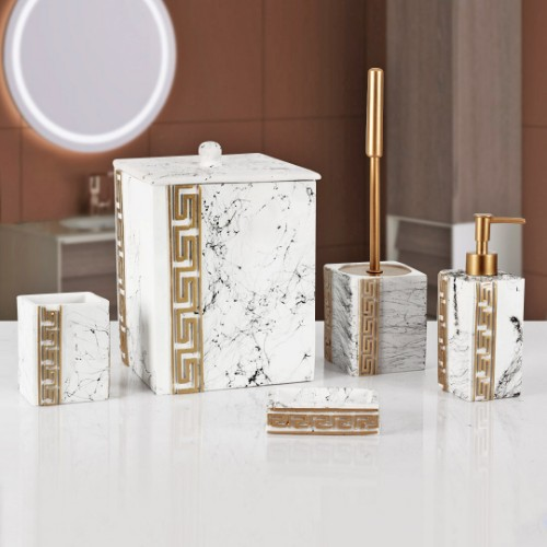 Picture of Marble Bathroom Accessories Set of 5 - White