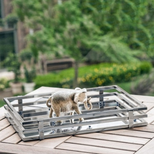 Picture of Arya Mirrored Tray Large Size - Silver