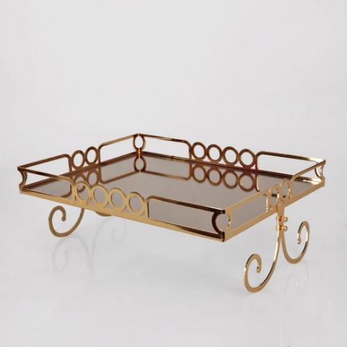 Picture of Ring Laser Cake and Pastry Stand Rectangle 40cm - Gold